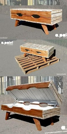 Use Pallet Wood Projects to Create Unique Home Decor Items – Hobby Is My Life Wood Pallet Tables, Diy Pallet Furniture, Painted Furniture, Pallet Beds, Pallet Wood, Easy Woodworking Projects, Diy Pallet Projects, Wood Projects, Woodworking Desk