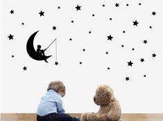 naklejki ścienne chłopiec z wędką i gwiazdki - dokelnaklejki - Naklejki na ścianę dla dzieci