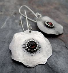 Red Poppy Earrings // hand forged sterling by LostSparrowJewelry