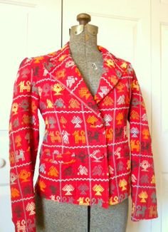Vintage red embroidered cotton Ethnic Jacket