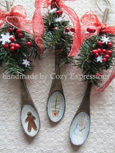 Handpainted Wooden Spoons, decorated with silk greens, berries, snowflakes.  Topped off with handtied bow.   $7.00