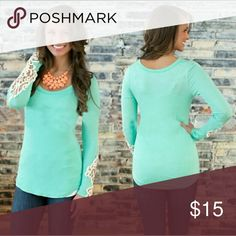 Lace Sleeve Long Sleeve Tee Lace stitching, round collar long sleeve cotton bottoming t-shirt base shirt!!!! You can it dress up or pair it with a pair of jeans for a classy daily look!!Measurements on this top are -bust 76 cm, shoulder 38 cm, Sleeve 54cm and length is 56 cm Tops Tees - Long Sleeve