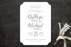 """Kindly Request"" - Bold typographic Wedding Invitations in Charcoal by Lori Wemple."