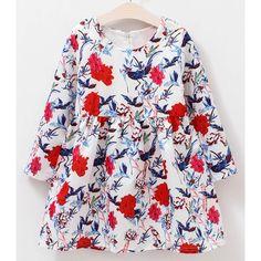 $8.18 Cute Long Sleeve Bird Pattern Floral Print Mini Dress For Girl