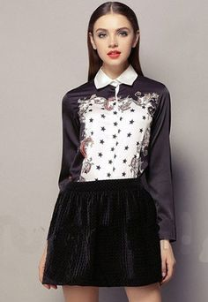 Folk Style Floral Star Print Chiffon T-Shirt