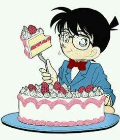 Conan Edogawa eat cakes!! Yummy