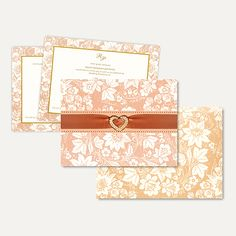 This elegant card is made out of ivory (cream) structured card board. On front of the card it has floral design all around on pastel pink background and beautiful ribbon with heart shape brooch placed in center gives card stunning look. Matching envelope and inserts gives elegant look too.. ‪#‎IslamicWedding‬ card
