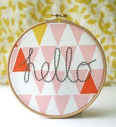 Hello hoop... couched lettering article with traceable templates | Kirsty Neale