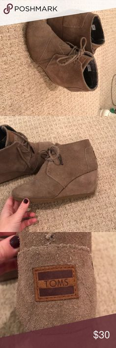 "Women's toms wedge bootie the simplest way to add a dash of fashion to your everyday look! desert suede upper, suede wedge, laces with metal tips. heel height = 2 3/4"". Toms Shoes Ankle Boots & Booties"
