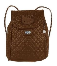 f53257e1e4 Hello Kitty Brown Quilted Metal Chain Strap Backpack Hello Kitty Backpacks