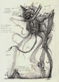 ArtStation - The Creatures of Bobby Rebholz Dark Creatures, Mythical Creatures Art, Mythological Creatures, Monster Concept Art, Fantasy Monster, Monster Drawing, Monster Art, Monster Sketch, Creature Concept Art