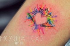 coolTop Watercolor tattoo - Heart negative image tattoo...
