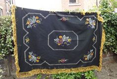 Bohemian home rustic large black tablecloth by DollyTopsyVintage