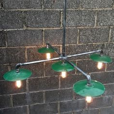 Vintage industrial 'chandelier' with green enamel shades