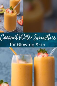 #TurmericExtract Healthy Smoothies, Smoothie Recipes, Vegetable Smoothies, Oatmeal Smoothies, Blender Recipes, Healthy Drinks, Coconut Water Smoothie, Smoothie With Water, Coconut Water Drinks