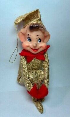 Vintage Knee Hugger Elf Christmas Pixie Red and Gold Body | eBay