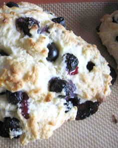 Blueberry Scones - used frozen blueberries and 2 more Tablespoons of sugar. Yummmm!!