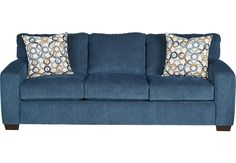Lucan Navy Sofa x x . Find affordable Sofas for your home that will complement the rest of your furniture. Blue Couch Living Room, Blue Living Room, Couch And Loveseat, Blue Furniture Living Room, Couches Living, Blue Couch Living, Bobs Furniture Living Room, Affordable Living Room Furniture, Navy Blue Living Room