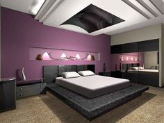 Modern Interior Design Bedroom With Purple Walls Black Modern Elegant