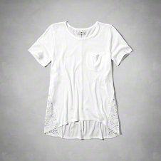 girls lace panel pocket tee
