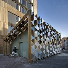 """Bermondsey Bike Store by Sarah Wigglesworth author of """"Around and About Stock Orchard Street"""" Shed Design, Facade Design, House Design, Building Skin, Building Facade, Bicycle Store, Metal Facade, Bike Shed, Facade Architecture"""