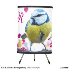 #Bird & Blooms #Monogram on #zazzle. #Personalize with an #initial to make this your own. #giftidea #homedecor #lamp #bluebird