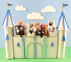 It's a castle, it's a tossing game, but mostly this project is about an awesome abundance of…CATS! Book Projects, Projects For Kids, Brass Fasteners, Paper Towel Tubes, Eye Stickers, Construction Paper, Tissue Boxes, Abundance, Things That Bounce