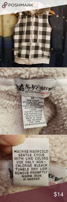 🎈CLEARANCE 🎈Self Esteem Faux Fur Plaid Vest Top Good pre-owned condition. Self Esteem Tops Sweatshirts & Hoodies