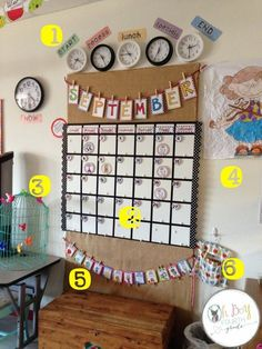 Amazing classroom calendar with real clocks to show times for different activities!