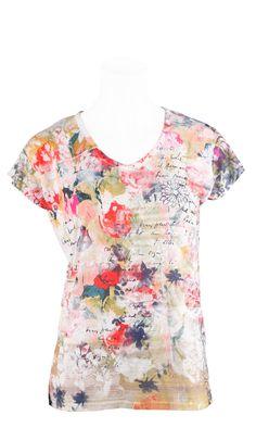 MANALA MULTICOLORE,T.Shirt manche courte en viscose,imprimébouquet de fleur,très frais ,à porter avec un Jeans ou 5 poches.Vendu 39,9€ sur www.depechmod.fr