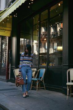 Nisi wearing Loewe Puzzle Bag, Chloé Lauren Flats, Monki Mom Jeans and Zara Striped Longsleeve - teetharejade.com