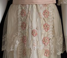 detail from a hand-embroidered lace tea dress, c.1914