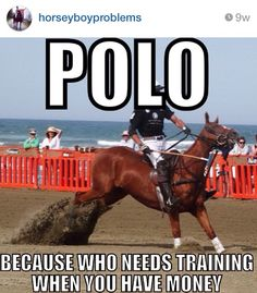 Once again go follow horseyboyproblems on Instagram! Not all polo players are bad, but nearly ALL I have seen are too big for their horses in the first place, and yank like crazy on the bit for balance! This photo illustrates both. This horse is so finely built. Injury waiting to happen!! And if you don't have balance, do not ride at such speed.