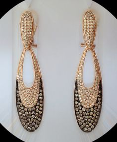Brown Diamond Drop Earrings in 14kt Rose Gold