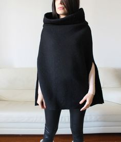 women wool cape black wool poncho women shawl by Afycollection