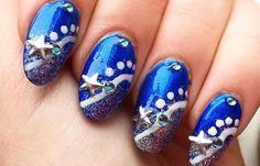 Diseños de uñas para invierno, diseño de uñas invierno estrellas.  Únete al CLUB, síguenos! #uñasbonitas #nailsdesign #uñasdeboda