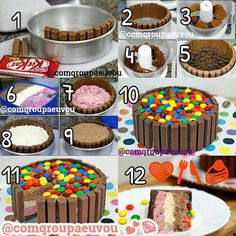 Ice cream cake with kitkat Torta Candy, Candy Cakes, Cupcake Cakes, Diy Ice Cream Cake, Ice Cake, Fancy Desserts, Just Desserts, Chocolate Lollies, Lolly Cake