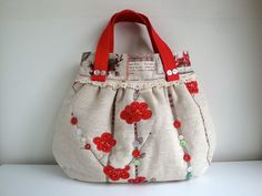 fd98afda21 Handmade Cotton Quilted Handbag - Hand embroidered £38.95 ♡♡ Quilted  Handbags