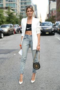 Helena Borden wears a Nike sports bra, white blazer, cropped jeans, saddle bag, and white pumps Sport Fashion, Love Fashion, Fashion News, Fashion Show, Fashion Outfits, Womens Fashion, Fashion Trends, Fashion Mode, French Fashion