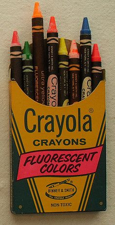Box of 8 Vintage CRAYOLA 1960s FLUORESCENT CRAYONS | Flickr