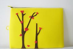 ArtDew - Introduce novelty and sweetness to your Ipad pouch : ) Great as special gift too! Zipper Pouch, Special Gifts, Singapore, Ipad, Asian, Yellow, Handmade, Bags, Hand Made