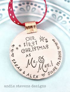 Hand Stamped Ornament - Personalized Ornament - Couples First Christmas - Married Couple Gift - First Christmas Mr. and Mrs. - Newlywed Gift