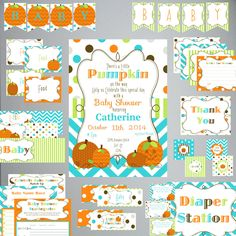 Little Pumpkin BABY Shower Kit-Printable-INSTANT DOWNLOAD-Editable File-Pumpkins-Chevron-Dots-Games-Banners-Labels by PaperWillowDesigns on Etsy