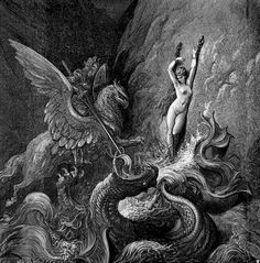 Ruggiero Rescuing Angelica  Illustration from Orlando Furioso by by Ludovico Ariosto, illustrator Gustave Doré (1832-1883).    Engraving.