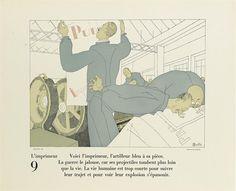 (MARTIN, CHARLES.) Cocteau, Jean. Soignez la Gloire de votre Firme et l'excellence de vos Marchandises. 11 pochoir plates by Martin illustrating printing arts professionals, accompanied by Cocteau's prose. 1925