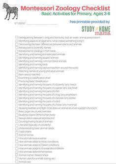 Montessori Zoology Checklist for Primary Montessori Homeschool