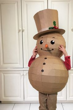 DIY cardboard snowman costume template by Zygote Brown Designs