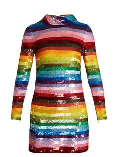 Ashish Rainbow-striped Sequin-embellished Silk Mini Dress In Multi Rainbow Outfit, Rainbow Fashion, Rainbow Dresses, Rainbow Clothes, Kpop Fashion Outfits, Stage Outfits, Womens Fashion, Pretty Outfits, Cute Outfits