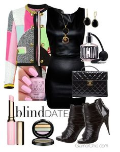 """""""Fun Date"""" by itgirl-1 ❤ liked on Polyvore featuring Clarins, OPI, Moschino, Chanel, Giorgio Armani, Victoria's Secret, Effy Jewelry, Givenchy, women's clothing and women"""