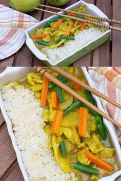 Un piatto dal sapore esotico: petto di pollo al curry e mango. La dolcezza del mango è attenuata dal succo di limone. Il curry dà alla ricetta la nota piccante, il mango e il porro donano cremosità mentre le carote e i fagiolini aggiungono la croccantezza. Da serivire con cous cous o riso bollito. My Recipes, Chicken Curry, Note, Indian